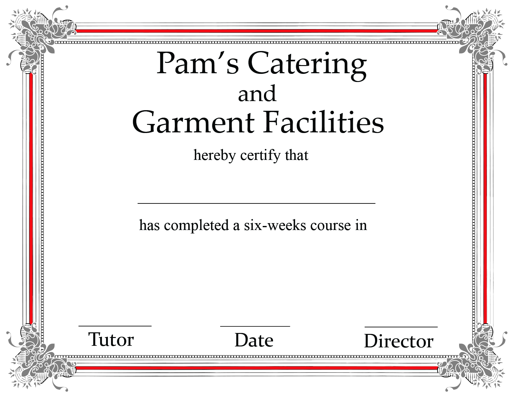Pam's Catering Certifications